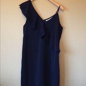 Collective Concepts One Shoulder Blue Dress Size L